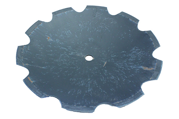 """36"""" x 120mm - Notched Disc Blade -21/2"""" Rd Axle W/ Rome dimples / 511"""" Shallow concavity"""